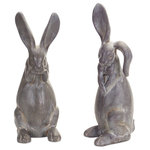 Melrose International - Rabbit Figurine, Set Of 2, Gray - Garden rabbits each with a different stance. Dark grey color with worn texture. Cute and dainty for any home or garden!
