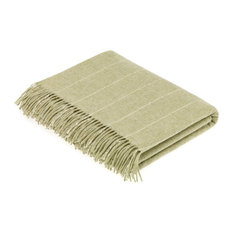 Merino Lambswool Pinstripe Sage Throw Blanket