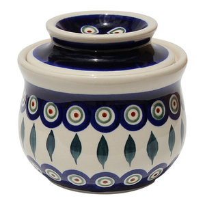 Polish Pottery French Butter Dish, Pattern Number: 56