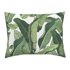 Tropical Leaves Tropical Cotton Pillow Sham, Euro