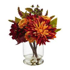 Nearly Natural Dahlia & Mum W/Vase Arrangement