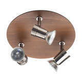 Guava 3 Light Nickel and Wood Effect Ceiling Spotlight