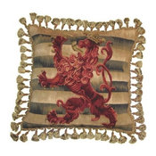 "New Aubusson Throw Pillow 20""x20"" Handwoven"