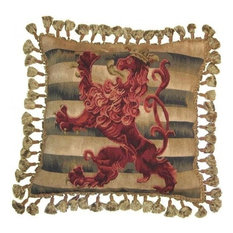 "New Aubusson Throw Pillow 20""x20"" Handwoven Wool Red Brown Lion"