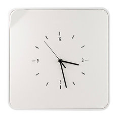 Wall-Mounted Key Holder With Clock, White