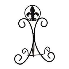 "Iron Plate or Cookbook Easel, Fleur De Lis Design, 14.25"""
