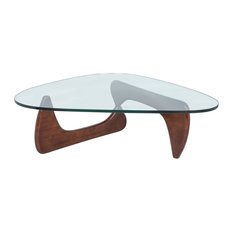 Leisuremod Imperial Modern Gl Top Wooden Base Triangle Coffee Table Walnut