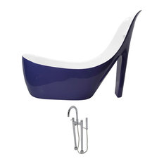 ANZZI Gala 6.7 ft. Acrylic Freestanding Bathtub in Violet and Sol Faucet