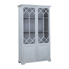 """91"""" Tall Alton Whitewash Cabinet with Glass Doors"""