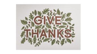 "Gratitude: Give Thanks, 5""x7"", Letterpress Print"