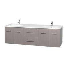 "Centra 72"" Gray Oak Double Vanity, White Man-Made Stone Top, Drop-In Square Sink"