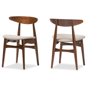 Flora Mid-Century Modern Light Gray Fabric and Oak Wood Dining Chairs, Set of 2