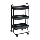 Modern 3-Tier Serving Trolley Cart, Black Finished Metal With 4-Caster Wheel