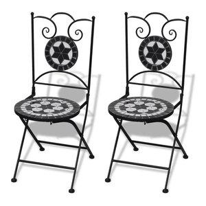 vidaXL 2x Bistro Chair Mosaic Black White Outdoor Garden Patio Cafe Furniture