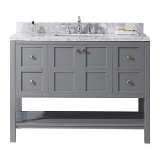 "Virtu Winterfell 48"" Single Bathroom Vanity, Gray With Marble Top"