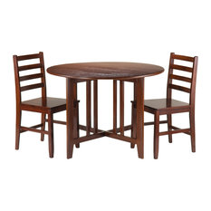 Alamo 3 -Piece Round Drop Leaf Table With 2 Hamilton Ladder Back Chairs