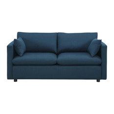 Emma Upholstered Fabric Sofa/Azure