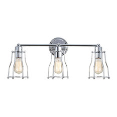 Evelyn Metal Vanity Light, Chrome, 24""