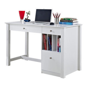 Home Office Deluxe Wood Storage Computer Desk, White