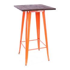 Dreux Steel Bar Table, Orange Dark Wood