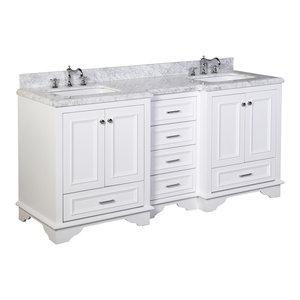 """Nantucket 72"""" Double Bath Vanity, Base: White, Top: Carrara Marble"""
