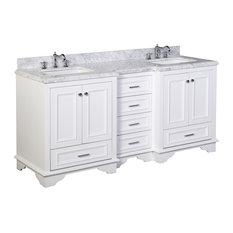 Nantucket 72-inch Double Bath Vanity Base: White Top: Carrara Marble