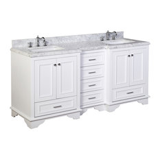 "Kitchen Bath Collection - Nantucket 72"" Double Bath Vanity, Base: White, Top: Carrara Marble - Bathroom Vanities and Sink Consoles"