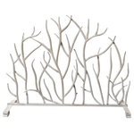 Dr. Livingstone I Presume - Fireplace Screen, Iron Twig, Antique White - Bring in the beauty of nature with the durability of iron. Hand finished, the Antique White Twig Iron Fire Screen adds subtle grace to your living space. Place in front of your fireplace or even use as a divider on a half wall.