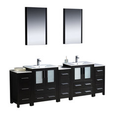 "Torino 84"" Espresso Double Sink Vanity, 3 Side Cabinets Tartaro Chrome Faucet"