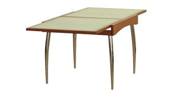 Extendable Beech Wood Table With Glass Top, Chrome Legs