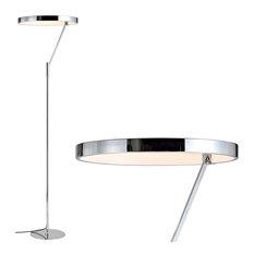 "Owen 66.7"" Integrated Led Metal Floor Lamp, Chrome"