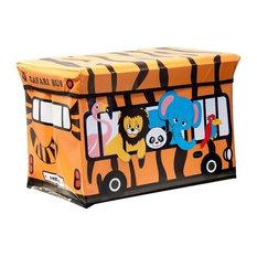 Kids Folding Ottoman Storage Seat Toy Box, Large, Safari