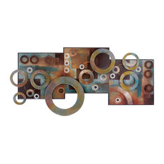 Woodland Imports - Gorgeous Style Abstract Deco Metal Wood Art Brown Beige Family Decor - Wall Sculptures