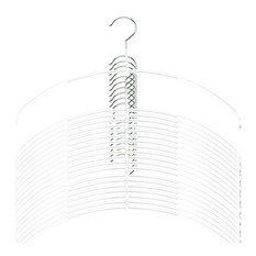 Euro Ultra Thin Shirt Hangers, Set of 20, White