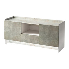 Tall Marble Effect TV Stand With LED Light, White and Concrete Grey