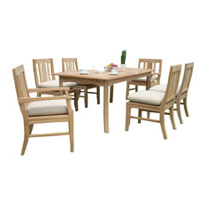 """7-Piece Outdoor Patio Teak Dining Set, 60"""" Rectangle Table, 6 Oslo Chair"""