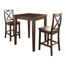 3-Piece Pub Dining Set, Tapered Leg and X-Back Stools, Vintage Mahogany