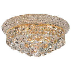 "Bagel Design 6 Light 14"" Gold Flush Mount With Clear Asfour Crystals"