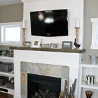 Shiplap Fireplace With Reclaimed Mantle Beach Style