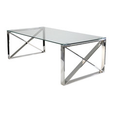 Sagebrook Home Silver Metal And Glass Cocktail Table 12802-01