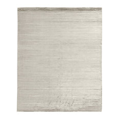 High Low Modern Classic Channel Pattern Silver Rug, 4'x6'
