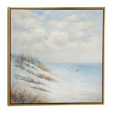 Acrylic Painting of Beach and Sailboats Coastal Artwork, Wood Frame