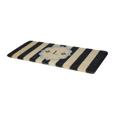 "First Impression Haywood Monogrammed Entry Double Doormat, 24""x57"", L"