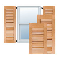 """12"""" x 54"""" Exterior Western Red Cedar Louvered Shutters, Unfinished"""