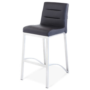 Lynx Counter Height Contemporary Stool With Metal Base, Black