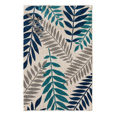 "Terrace Tropic Rug, Snow and Sapphire, 7'10"" X 9'10"""