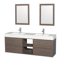 "Daniella 72"" Double Vanity, Acrylic Resin Top, Integrated Sinks"