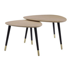 Triangular Top Nesting Table With Angled Leg Support Black And Brown