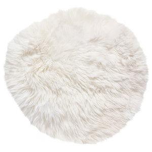 Round New Zealand Sheepskin Rug, 70 cm, Natural White