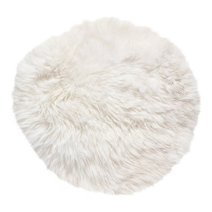 Round New Zealand Sheepskin Rug, 70 cm, Natural White